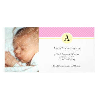 Initial Pink Yellow Girl New Baby Photo Cards