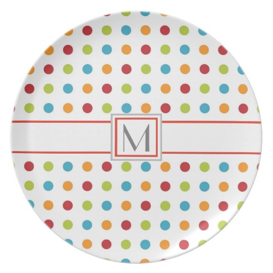 INITIAL PLATE, CHEERFUL COLORFUL PLATE AND INITIAL