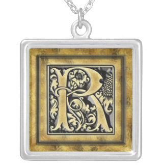 Initial R Goth Style Silver Necklace