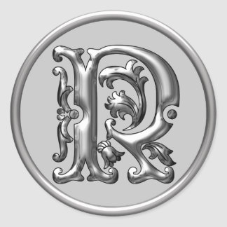 Initial R Round Sticker in silver