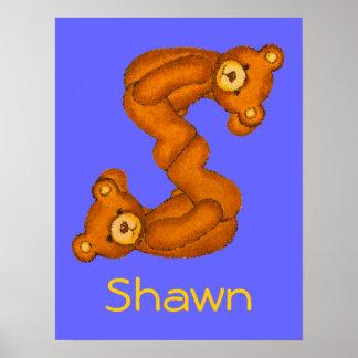Initial S ~Teddy Bear Alphabet Letter~Custom Name Poster