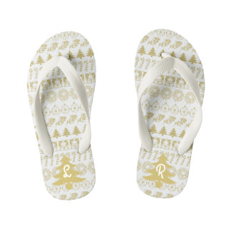Initial - Teal/White Christmas Fun Font Pattern Kid's Thongs