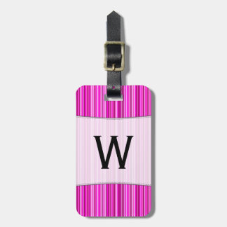 Initial + Thin Magenta and Pink Stripes Pattern Luggage Tag