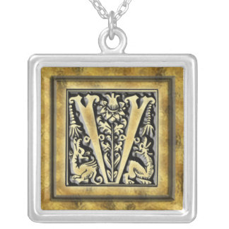 Initial V Goth Style Silver Necklace