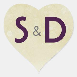 Initial Wedding Heart Heart Sticker
