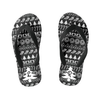 Initial - White/Black Christmas Fun Font Pattern Kid's Thongs