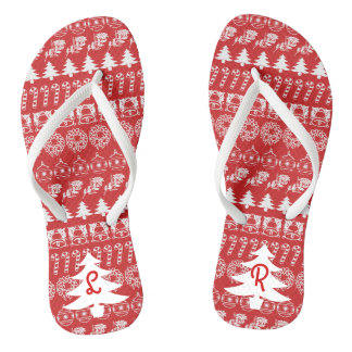 Initial - White/Red Christmas Fun Font Pattern Thongs