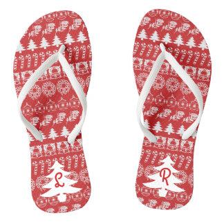 Initial - White/Red Christmas Fun Font Pattern Thongs