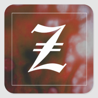 "Initial ""Z"" Square Sticker"