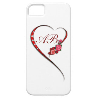 Initialled Hearts and flowers iPhone 5 Case