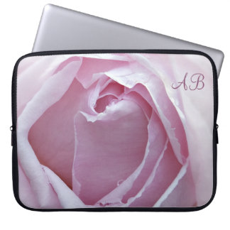 Initialled pink rose computer sleeves