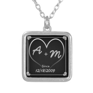 Initials and Heart with Date and Since Square Pendant Necklace