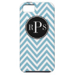 Initials Beautiful Blue White Chevron Pattern Case For The iPhone 5