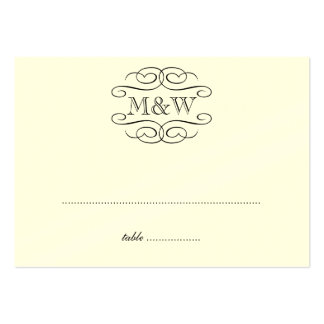 Initials black scroll wedding escort seating place pack of chubby business cards