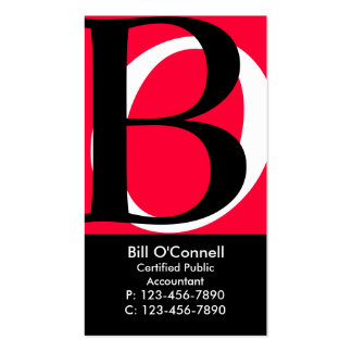 Initials Business Card Red