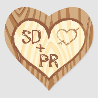 Initials Carved in Wood Heart - Custom Stickers