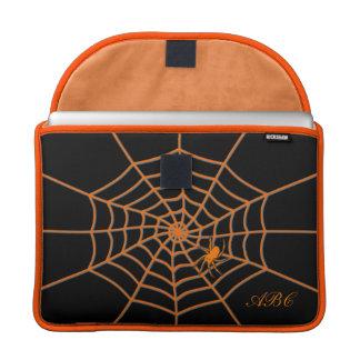 Initials customized orange spider on web sleeve for MacBook pro