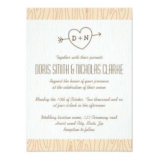 Initials heart and arrow wood illustration wedding card