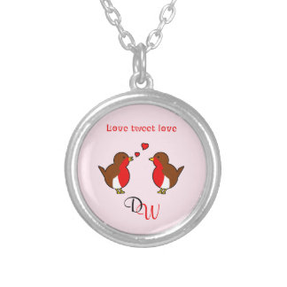 Initials Love robins pink valentine Silver Plated Necklace