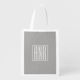 Initials Monogram | White On Light Grey Reusable Grocery Bag
