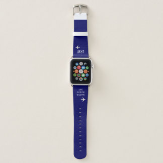 initials (monogram) with name & airplanes on blue apple watch band