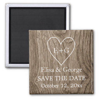 Initials on wood heart wedding Save the Date Square Magnet