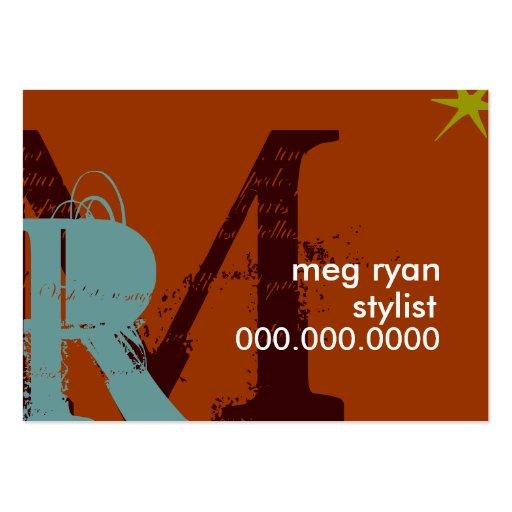 Initials Orange Chubby Business Card