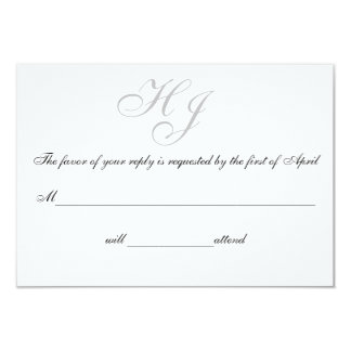 """Initials"" Response/Reply Cards 9 Cm X 13 Cm Invitation Card"