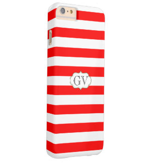 Initials Strawberry Red & White. Striped Monogram Barely There iPhone 6 Plus Case