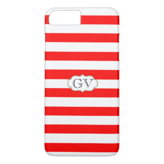 Initials Strawberry Red & White. Striped Monogram iPhone 7 Plus Case