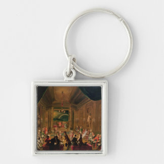 Initiation ceremony in a Viennese Masonic Silver-Colored Square Key Ring