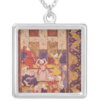 Initiation dance, from a book of poems silver plated necklace