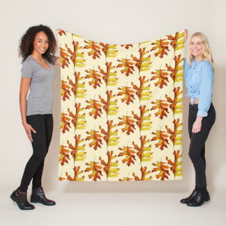 Ink And Watercolor Dancing Autumn Leaves Pattern Fleece Blanket