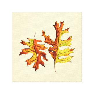 Ink And Watercolor Painted Dancing Autumn Leaves Canvas Print