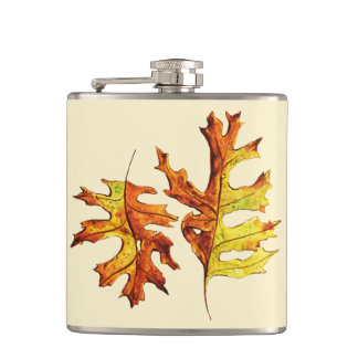 Ink And Watercolor Painted Dancing Autumn Leaves Hip Flask