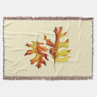 Ink And Watercolor Painted Dancing Autumn Leaves Throw Blanket