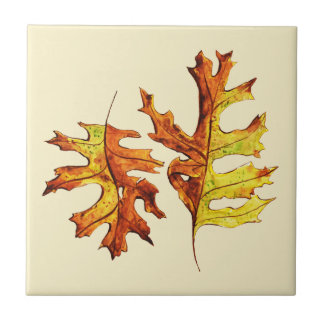 Ink And Watercolor Painted Dancing Autumn Leaves Tile