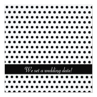 Ink Black Polkadot Pattern 13 Cm X 13 Cm Square Invitation Card