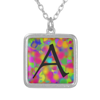 Ink Blot Initial Necklace - Square