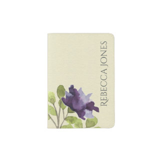 INK BLUE WATERCOLOUR FLORAL CREAM LEATHER MONOGRAM PASSPORT HOLDER