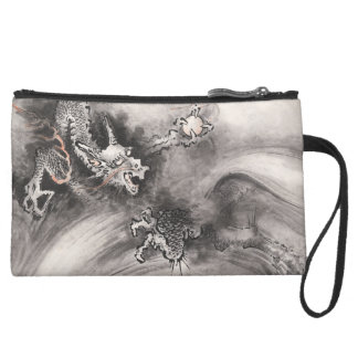 Ink Dragon Sueded Mini Clutch