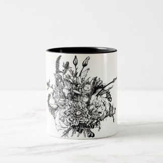 Ink Illustration of a Beautiful Flora Bouquet Two-Tone Coffee Mug