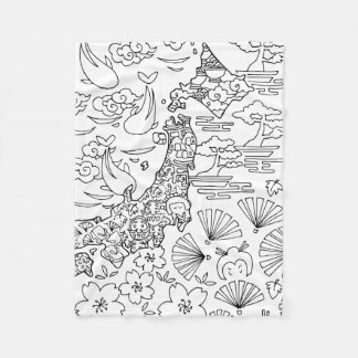 Ink: JAPAN Fleece Blanket, Small