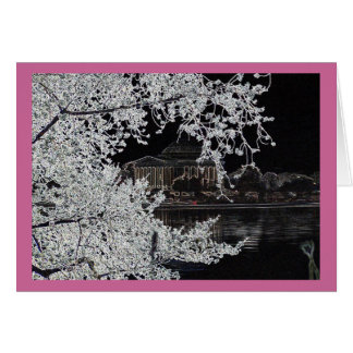Ink outlined Jefferson Memorial & Cherry Blossoms Card