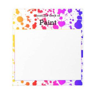 Ink Paint Splash Splatter Colorful Bright Rainbow Notepad