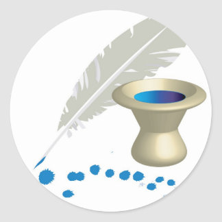 Ink pot with feather and ink splashes classic round sticker