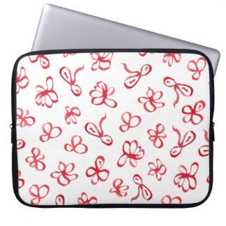 Ink Red Flowers Laptop Sleeve 15''