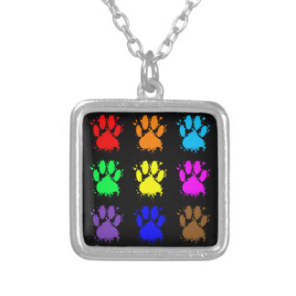 Ink Splatter Dog Paw Pattern Silver Plated Necklace