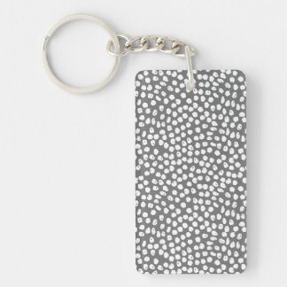 Ink Spot - Charcoal/White / Andrea Lauren Double-Sided Rectangular Acrylic Key Ring