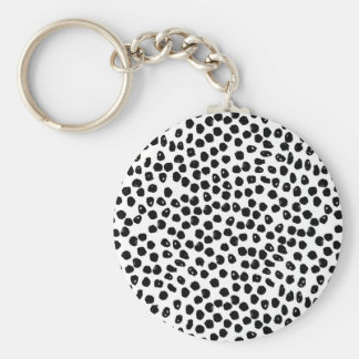Ink Spots - White/Black / Andrea Lauren Basic Round Button Key Ring